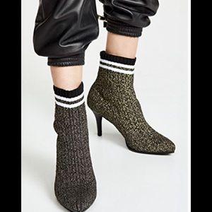 Stuart Weitzman sock booties metallic black heels